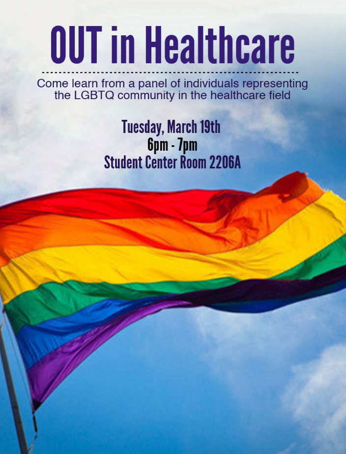 OUT in Healthcare March 19th from 6-7pm Student Center Room 2206A