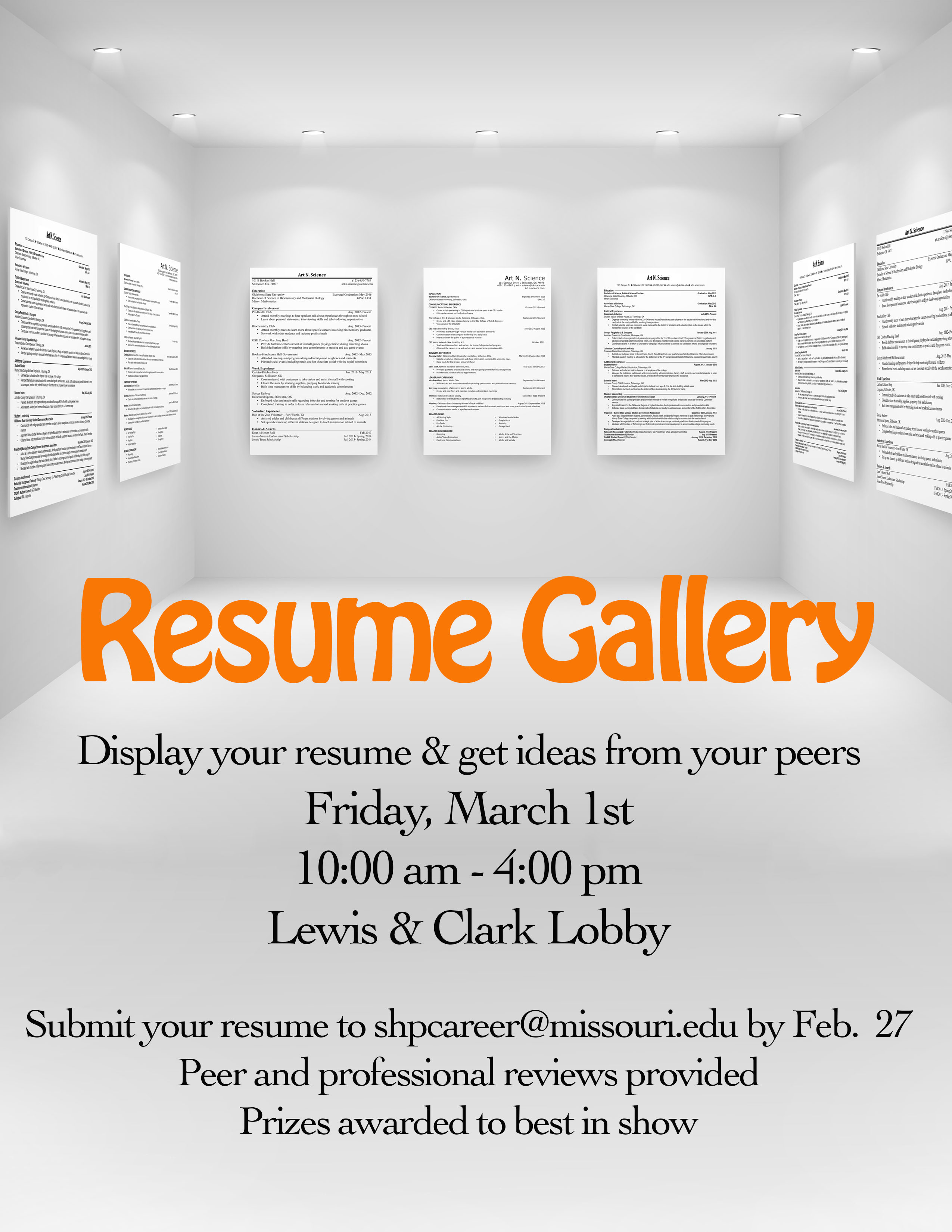 Resume Gallery Flyer 2019, Friday March 1st from 10am-4pm in the Lewis & Clark Lobby. Resumes will be posted for employers to review to help students create the best resume possible!