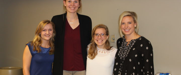 Students Gabby Heckman, Caroline Thompson, Lydia Ely, and Audrey Imhoff