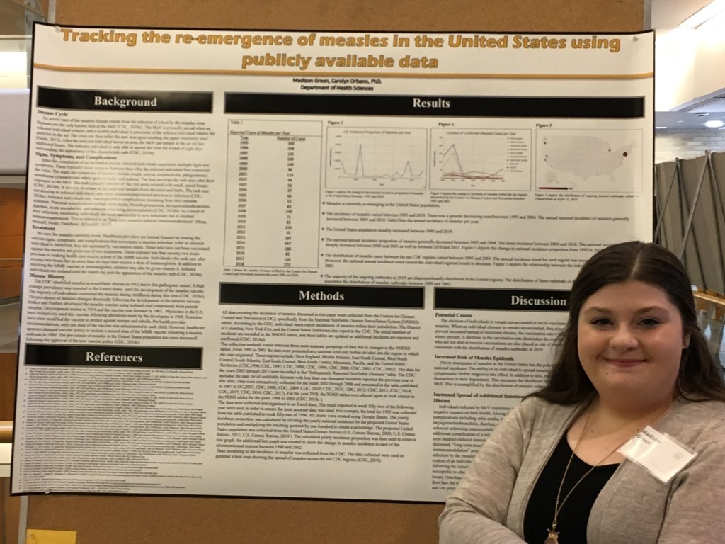Madison Green, young woman with brown hair in front of her research poster