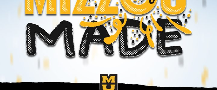 """""""Mizzou Made"""" text with graduation cap and confetti"""
