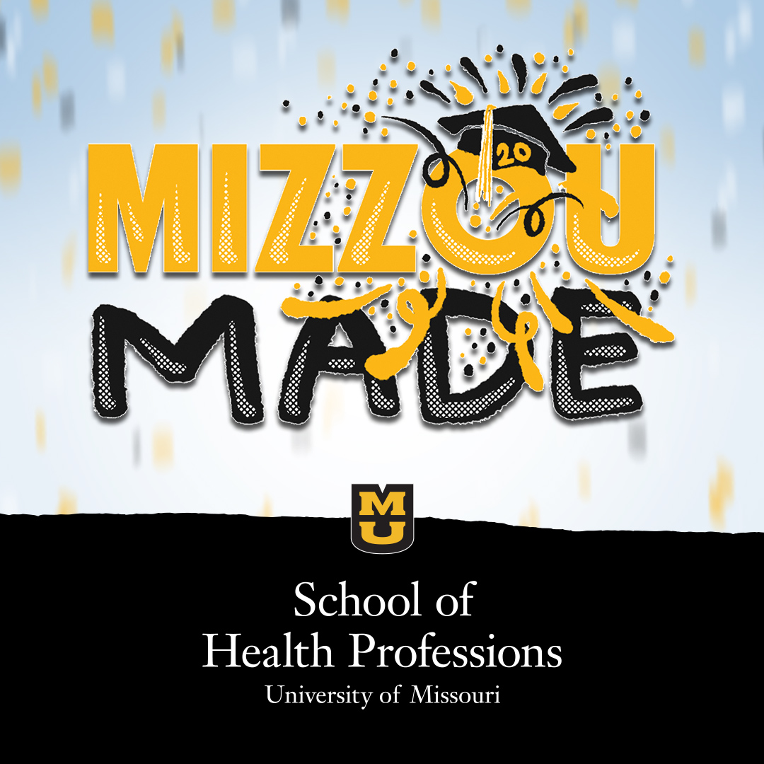 """Mizzou Made"" text with graduation cap and confetti"