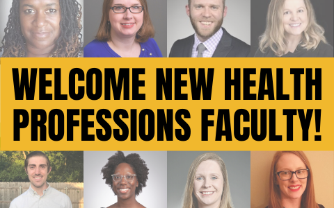 Portraits of 8 people with text Welcome New Health Professions Faculty