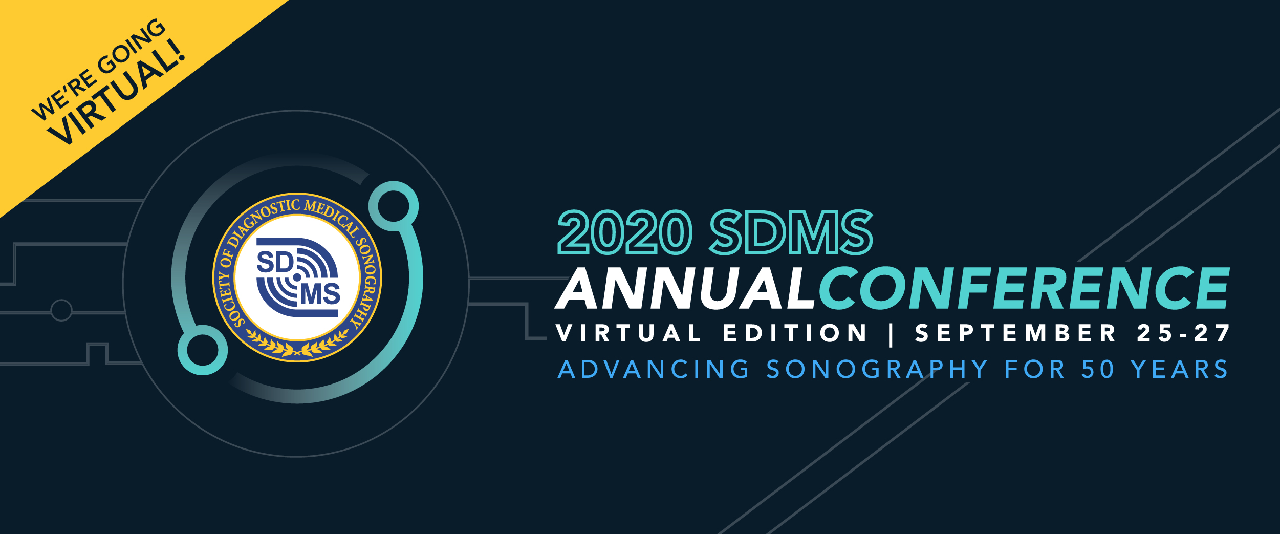 "Graphic stating ""2020 SDMS Annual Conference, virtual edition 