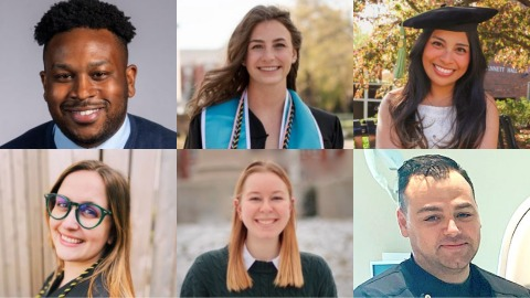 A grid of photos of our six featured graduates