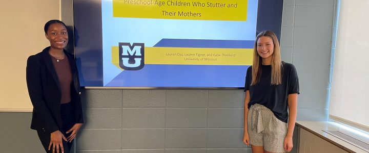 From left: Lauren Tigner and Lauren Day present their poster at the virtual state conference