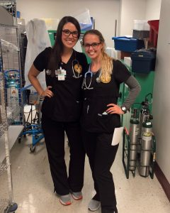 Two women in scrubs
