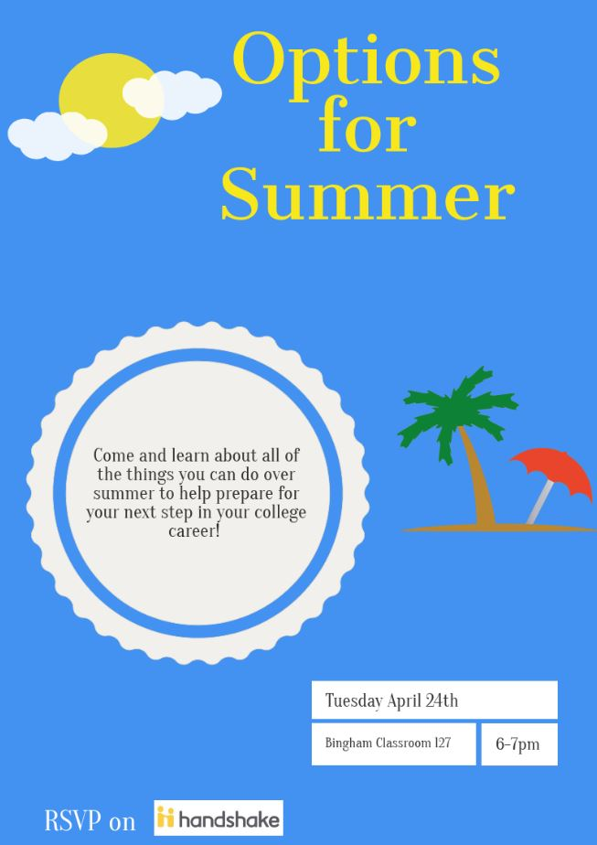 Options for Summer Come and learn about all of the things you can do over summer to help prepare for your next step in your college career! April 24th from 6-7pm Bingham Classroom 127