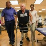 The School of Health Professions runs a free physical therapy clinic to train it's PhD physical therapy students. Denny Griggs, of Hallsville, MO attends the clinic once a week to work on his stamina while walking on his two prosthetic legs