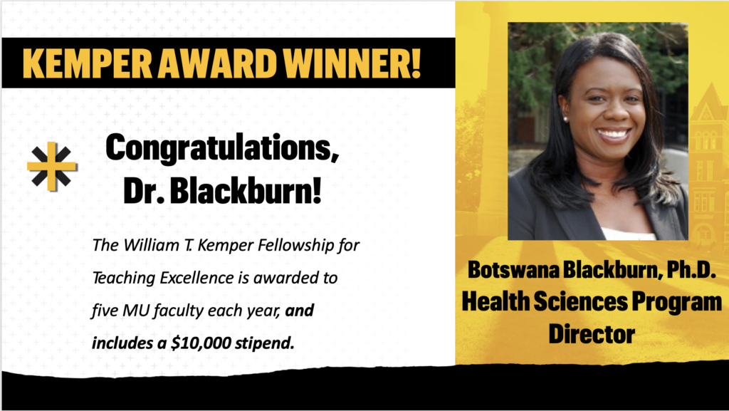 Kemper Award Winner, Dr. Botswana Blackburn