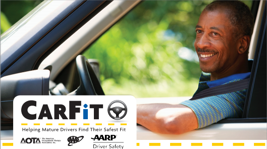 Man in car, carfit event